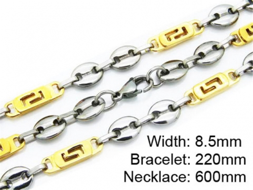 HY Stainless Steel 316L Necklaces Bracelets (Two Tone)- HY55S0166I20