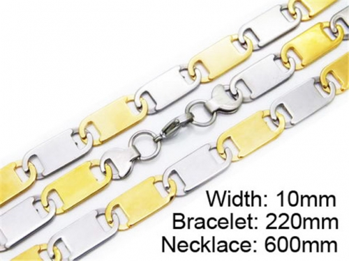 HY Stainless Steel 316L Necklaces Bracelets (Two Tone)- HY55S0173H80