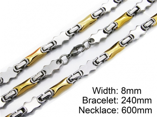 HY Stainless Steel 316L Necklaces Bracelets (Two Tone)- HY55S0015I10