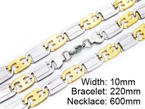 HY Stainless Steel 316L Necklaces Bracelets (Two Tone)- HY55S0177H80