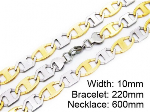 HY Stainless Steel 316L Necklaces Bracelets (Two Tone)- HY55S0172H80