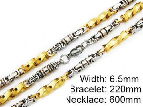 HY Stainless Steel 316L Necklaces Bracelets (Two Tone)- HY55S0089I50