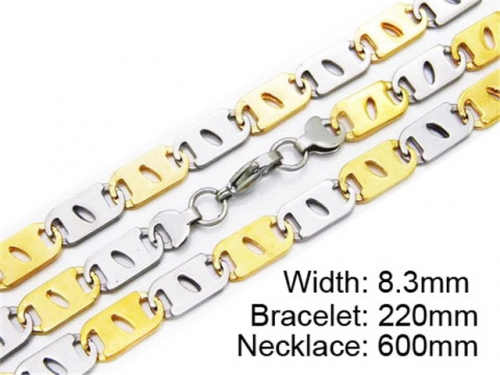 HY Stainless Steel 316L Necklaces Bracelets (Two Tone)- HY55S0169H80