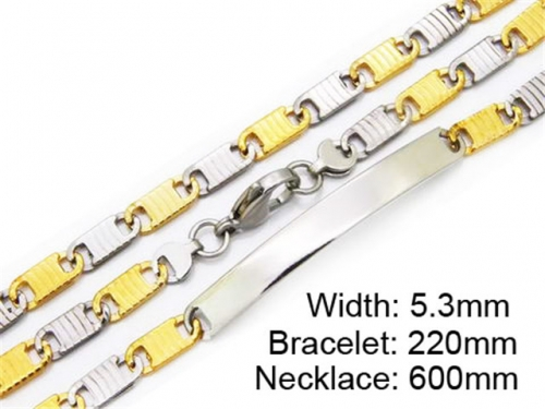 HY Stainless Steel 316L Necklaces Bracelets (Two Tone)- HY55S0179I00