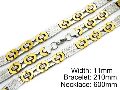 HY Stainless Steel 316L Necklaces Bracelets (Two Tone)- HY55S0071I40