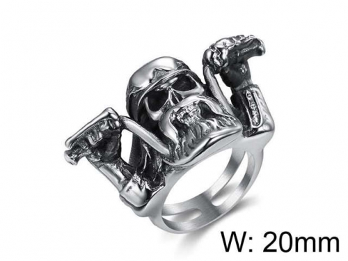 HY Jewelry Wholesale Stainless Steel 316L Skull Rings-HY0025R050