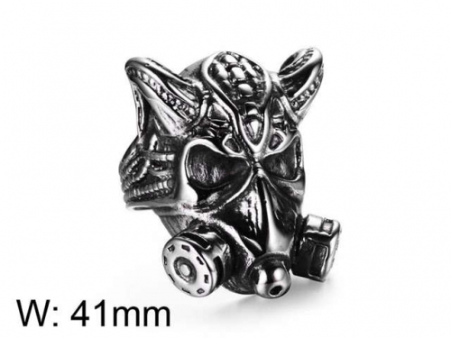 HY Jewelry Wholesale Stainless Steel 316L Skull Rings-HY0025R040