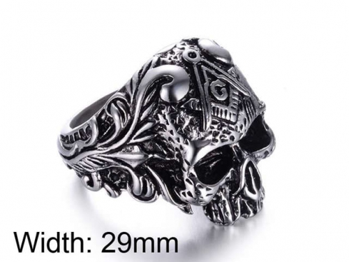 HY Jewelry Wholesale Stainless Steel 316L Skull Rings-HY0025R020