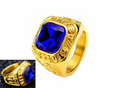 HY Jewelry Wholesale Stainless Steel 316L Big Zircon Crystal Stone Rings-HY0053R009
