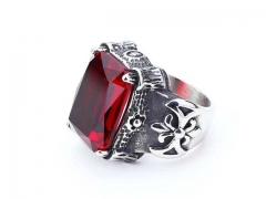 HY Jewelry Wholesale Stainless Steel 316L Big Zircon Crystal Stone Rings-HY0053R027