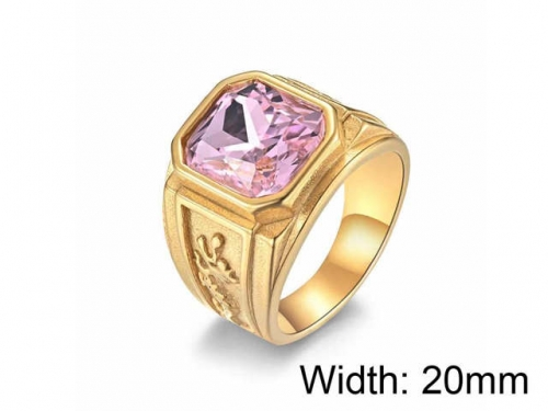 HY Jewelry Wholesale Stainless Steel 316L Big Zircon Crystal Stone Rings-HY0052R030