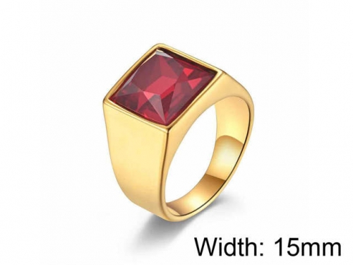 HY Jewelry Wholesale Stainless Steel 316L Big Zircon Crystal Stone Rings-HY0052R028