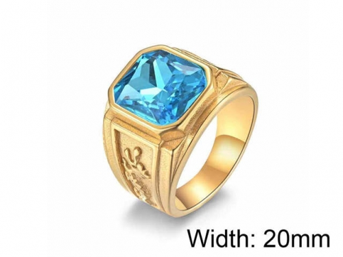 HY Jewelry Wholesale Stainless Steel 316L Big Zircon Crystal Stone Rings-HY0052R031