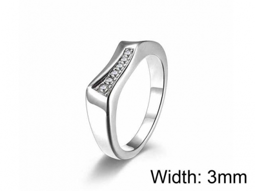HY Jewelry Wholesale 316L Stainless Steel Zircon Crystal Stone Rings-HY0052R024