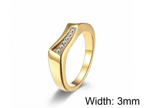 HY Jewelry Wholesale 316L Stainless Steel Zircon Crystal Stone Rings-HY0052R025