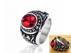 HY Jewelry Wholesale Stainless Steel 316L Big Zircon Crystal Stone Rings-HY0053R026