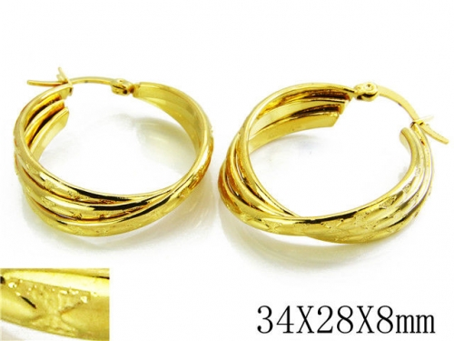 HY Stainless Steel Twisted Earrings-HY70E0246MZ