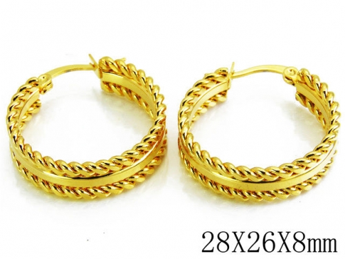 HY Stainless Steel Twisted Earrings-HY70E0129MZ