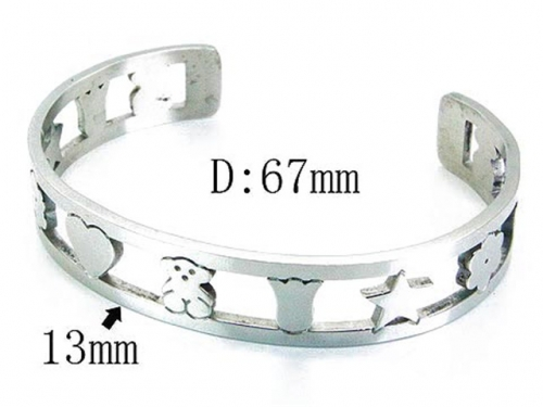 HY Stainless Steel 316L Bangle (Bear Style)-HY90B0199HKQ