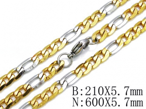 HY Stainless Steel 316L Necklaces Bracelets (Two Tone)-HY61S0200H20