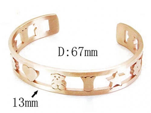 HY Stainless Steel 316L Bangle (Bear Style)-HY90B0201HNZ