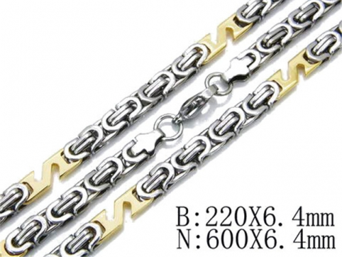HY Stainless Steel 316L Necklaces Bracelets (Two Tone)-HY55S0210I10