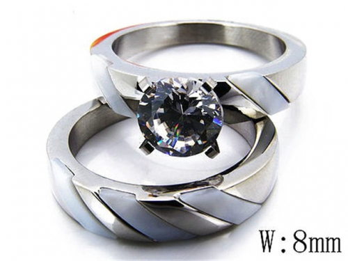 HY Stainless Steel 316L Lover Rings-HY05R0715I60